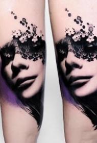 9张深黑色的一组水墨创意纹身图案