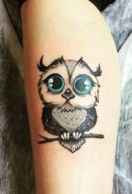合适猫头鹰控的小繁复猫头鹰纹身图片