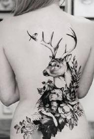 鹿角和小花花组合的黑灰纹身作品9张