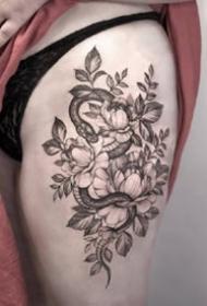 小蛇紋身:適合女士的一組黑灰紋身小蛇圖案