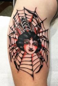 经典的的一组红色oldschool女郎纹身图片