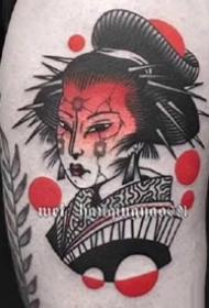 红色调的一组日式艺伎女郎纹身图片