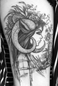 适合白羊座的一组暗黑创意羊纹身图