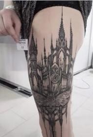 修建师合适的一组修建和图纸纹身作品