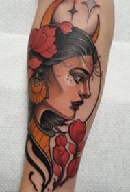 school风格的一组女郎纹身图案