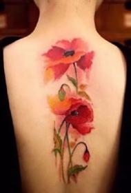 18张适合女士的红色小清新花朵纹身图案