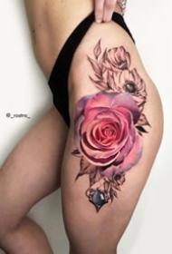 9张重黑色写实玫瑰花朵纹身图案