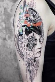 拼接风格的一组手臂纹身图案欣赏
