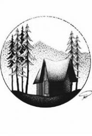 点刺几何风格的18张小鹿纹身手稿图片