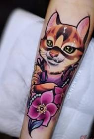school风格的一组猫纹身图案观赏