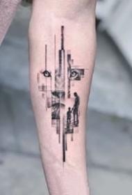 小臂上很有设计感的点线纹身图片