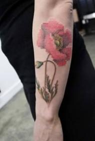 新颖的十字绣风格的一组创意纹身图案