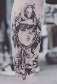 黑灰色调的一组日本艺伎纹身图案