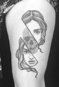 很有创意的一组几何线条黑灰纹身图