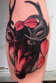 暗红系的一组大腿动物纹身作品图案