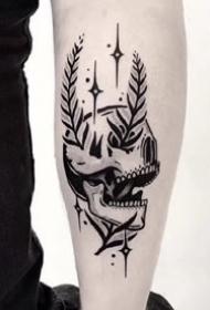 胳膊上的9张黑灰点刺纹身图案