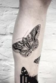 繁复的一组黑色胡蝶纹身图片观赏