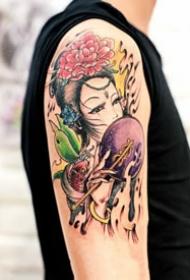 18张各种风格的艺伎纹身图案欣赏