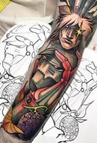 手臂上的帅气欧美newschool彩色纹身图案
