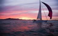 夕陽下的帆船圖片_7張