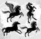 马的剪影与插画图片_2张