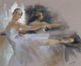 Vicente Romero Redondo油画作品芭蕾舞女孩图片_5张