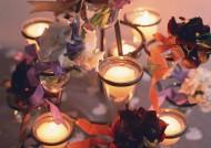 點燃的蠟燭與花朵圖片_10張