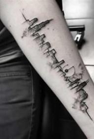一组城市修建的天际线纹身图案