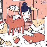 和小猫猫一起的卡通小女孩头像图片欣赏