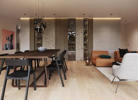 温馨时尚的极简主义风格公寓装修效果图