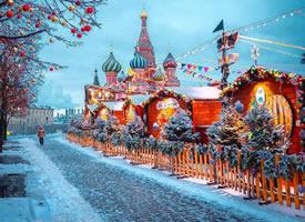 一组冬季的莫斯科红场美景图片欣赏