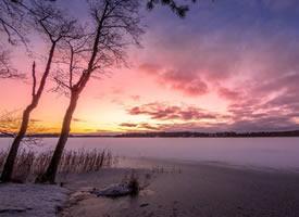 皎洁的雪花随处飘落洒满大地,皑皑一片银白世界
