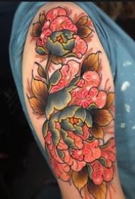 牡丹花的一组传统花卉纹身图案