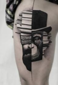 笼统感到的身黑色点刺纹身作品
