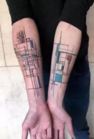 適合建筑師的一組線條圖紙紋身作品