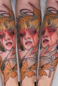 new school的包大年夜臂漂亮蜜斯姐纹身作品图案