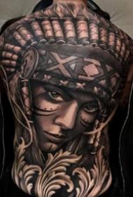 9张霸气的欧美写实大年夜满背纹身图案