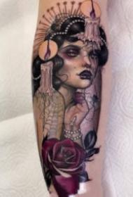 18张适合大腿手臂的欧美女郎纹身图案
