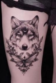 好看的一組狼頭紋身圖案作品