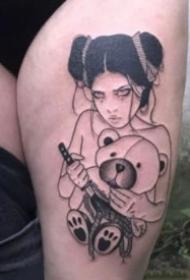 3+黑灰色18张日本艺伎等女郎纹身图案