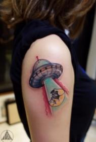 UFO飞碟主题的飞船纹身图案9张