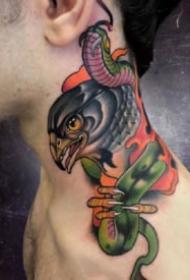 颈部脖子上的炫彩色纹身图案欣赏