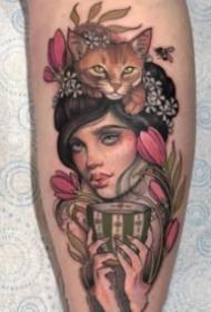 很有古典风格的欧美女郎纹身图案