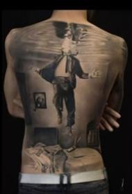 9张霸气的欧美大年夜满背写实黑灰纹身图案