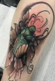 一組昆蟲甲蟲的紋身圖案欣賞
