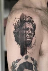 漂亮黑白照写实人物肖像纹身图案