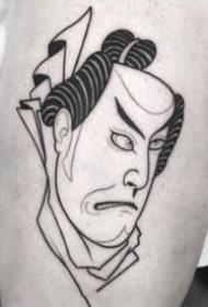 日式面具的暗黑线条简约纹身作品