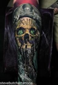 欧美写实大黑灰骷髅纹身图案
