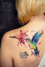 小清爽的一组水彩飞鸟纹身图案