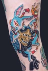 日式传统风格的猫土鼠青蛙等动物纹身